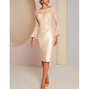 cheap Party Hats-Sheath / Column Mother of the Bride Dress Elegant Vintage Plus Size Jewel Neck Knee Length Lace Satin Long Sleeve with Lace 2020