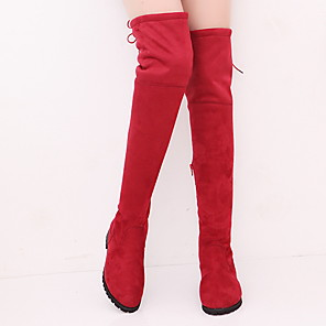 cheap Women's Boots-Women's Boots Spring / Fall Flat Heel Round Toe Casual Daily Solid Colored Suede Over The Knee Boots Walking Shoes Black / Red / Gray