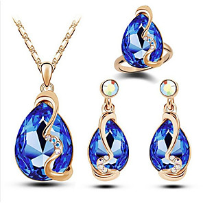 cheap Jewelry Sets-Women's Crystal Bridal Jewelry Sets Geometrical Star Stylish Gold Plated Earrings Jewelry Lake Blue / Red / White For Party Daily 1 set