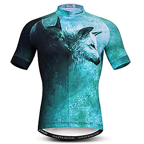 cheap Cycling Jerseys-21Grams 3D Animal Wolf Men's Short Sleeve Cycling Jersey - Mint Green Bike Jersey Top Breathable Moisture Wicking Quick Dry Sports Polyester Elastane Mountain Bike MTB Road Bike Cycling Clothing