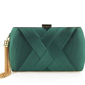 cheap Wedding Shoes-Women's Zipper / Tassel Silk Evening Bag Solid Color Dark Brown / Sky Blue / Wine