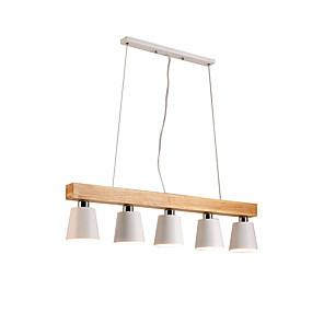 cheap Pendant Lights-5-Light Wooden Chandeliers 5 Lights Nordic Simple Pendant Light Fixtures For Living Room Bar Cafe Modern Metal Overhead Light White Lampshade