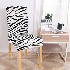 cheap Building Blocks-Zebra Print Super Soft Chair Cover Stretch Removable Washable Dining Room Chair Protector Slipcovers Home Decor Dining Room Seat Cover