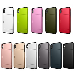 cheap Doorbell Systems-Case For Apple iPhone XS / iPhone XR / iPhone XS Max Card Holder / Shockproof Back Cover Solid Colored Hard PC