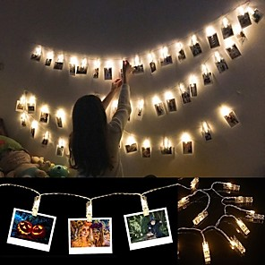 cheap LED String Lights-6M Photo Clip Holder LED String lights Battery Powered Christmas New Year Party Wedding Ramadan Decoration Fairy lights