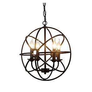cheap Candle-Style Design-4-Light Spherical Pendant Light Industrial Chandeliers 4 Lights Island Cages Hanging Lamp Kitchen Hallway Overhead Lights Adjustable Black