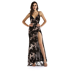 cheap Historical & Vintage Costumes-Diva Disco 1980s Dress Women's Sequins Costume Black / Golden Vintage Cosplay Prom Sleeveless Floor Length Sheath / Column