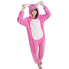 cheap Kigurumi Pajamas-Adults' Kigurumi Pajamas Dog Onesie Pajamas Flannel Fabric Pink Cosplay For Men and Women Animal Sleepwear Cartoon Festival / Holiday Costumes