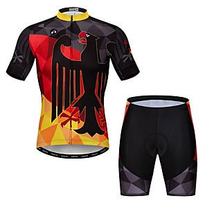 cheap Cycling Jersey & Shorts / Pants Sets-21Grams Novelty Germany Men's Short Sleeve Cycling Jersey with Shorts - Black / Red Bike Clothing Suit Breathable Quick Dry Sports Elastane Terylene Mountain Bike MTB Road Bike Cycling Clothing