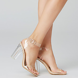 cheap Women's Sandals-Women's Sandals Clear / Transparent / PVC Spring / Summer Chunky Heel / Block Heel Peep Toe Transparent Shoes Dress Party & Evening Buckle PVC White / Black / EU41
