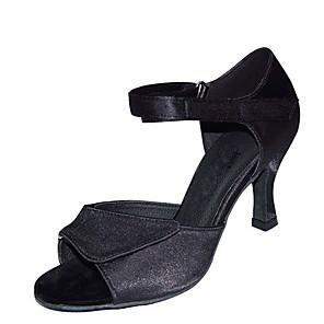 cheap Women's Boots-Women's Dance Shoes Satin / PU Latin Shoes Paillette Heel Flared Heel Customizable Black / Brown / khaki / Performance / Leather / Practice