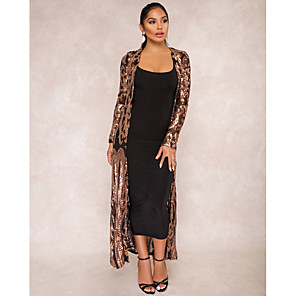 cheap Wedding Wraps-Long Sleeve Coats / Jackets Chiffon / Sequined / Polyster Wedding / Party / Evening Women's Wrap With Sequin