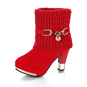 cheap Wedding Shoes-Women's Boots Platform Round Toe PU Fall & Winter Red / Black