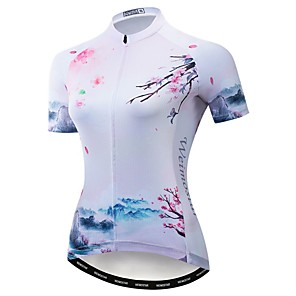cheap Cycling Jerseys-21Grams Women's Short Sleeve Cycling Jersey Polyester Elastane White Floral Botanical Bike Jersey Top Mountain Bike MTB Road Bike Cycling Breathable Quick Dry Moisture Wicking Sports Clothing Apparel