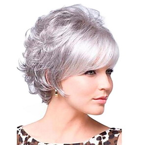 cheap Synthetic Trendy Wigs-Synthetic Wig Curly With Bangs Wig Short Grey Synthetic Hair 30 inch Women's Women Dark Gray