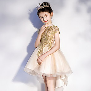 cheap Wedding Wraps-A-Line Asymmetrical Pageant Flower Girl Dresses - Polyester Short Sleeve Jewel Neck with Appliques