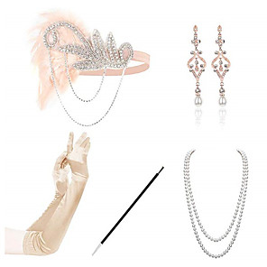 cheap Costumes Jewelry-Headbands Earrings Pearl Necklace Outfits 1920s Alloy For The Great Gatsby Cosplay Women's Costume Jewelry Fashion Jewelry / Gloves / Gloves