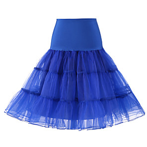 cheap Synthetic Trendy Wigs-Wedding / Wedding Party Slips Polyester / Tulle Knee-Length Solid Color / Tutus & Skirts with