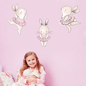 cheap Wall Stickers-Nordic Animal Dance Rabbit Decorative Wallpaper Decorative Wall Stickers - Animal Wall Stickers / Plane Wall Stickers Still Life / Animals Kids Room / Nursery