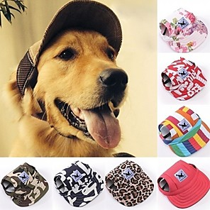 cheap Dog Clothes-Cat Dog Hoodie Bandanas & Hats Sport Hat Floral Botanical Dog Clothes Camouflage Color Stripe Red / White Costume Terylene Oxford Fabric S M L XL