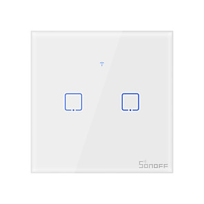cheap Burglar Alarm Systems-SONOFF Smart Switch T0EU2C-TX for Living Room / Study / Bedroom Low Noise / Decorative / Creative Wired & Wireless WIFI 100-240 V(2Gang)