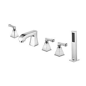 cheap Bathtub Faucets-Bathtub Faucet - Contemporary Chrome Roman Tub Brass Valve Bath Shower Mixer Taps / Three Handles Five Holes