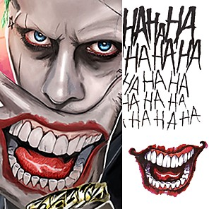 cheap Tattoo Stickers-5pcs/lot Halloween Cosplay The Joker Temporary Tattoo Stickers Body Art Tattoos for Face Arm