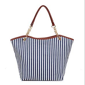cheap Handbag & Totes-Women's Chain Canvas Tote Blue / Red