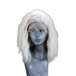 cheap Synthetic Lace Wigs-Synthetic Lace Front Wig Wavy Side Part Lace Front Wig Blonde Short Black#1B Platinum Blonde Synthetic Hair 10-12 inch Women's Adjustable Heat Resistant Party Black Blonde