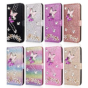cheap Samsung Case-Case For Samsung Galaxy A5(2018) / A6 (2018) / A6+ (2018) Wallet / Card Holder / Shockproof Full Body Cases Butterfly / Glitter Shine / Flower Hard PU Leather