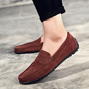 cheap Necklaces-Men's Comfort Shoes Spring / Summer / Fall Casual Daily Outdoor Loafers & Slip-Ons Suede Non-slipping Wear Proof Black / Navy Blue / Burgundy / EU40