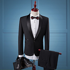 cheap Custom Tuxedo-Tuxedos Tailored Fit / Standard Fit Shawl Collar Single Breasted One-button Cotton Blend / Cotton / Polyester Solid Color