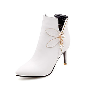 cheap Women's Boots-Women's Boots Sexy Boots Stiletto Heel Pointed Toe Rhinestone / Imitation Pearl PU(Polyurethane) Booties / Ankle Boots Fall & Winter White / Black / Yellow