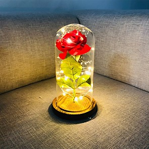 cheap Décor & Night Lights-Beauty and The Beast Rose Red Silk Rose LED Lights Lasts Forever in Glass Dome on Wooden Base Gift for Valentine's Day Wedding Anniversary Birthday