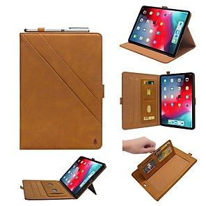 cheap iPad case-Case For Apple iPad Pro 11'' / iPad New Air(2019) Flip / with Stand / Shockproof Full Body Cases Solid Colored Hard Genuine Leather for iPad Pro 10.5 / iPad Pro 11'' / iPad New Air(2019)
