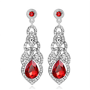 cheap Earrings-Women's AAA Cubic Zirconia Earrings Solitaire Drop Luxury Dangling Imitation Diamond Earrings Jewelry White / Red / Champagne For Wedding Party Engagement 1 Pair