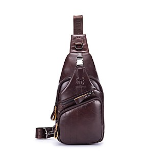 cheap Wedding Shoes-(BULLCAPTAIN)Men's Zipper Cowhide Sling Shoulder Bag Solid Color Black / Yellow / Coffee / Fall & Winter