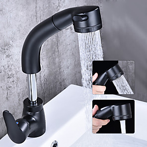 cheap Bathroom Sink Faucets-Bathroom Sink Faucet - Widespread / Rotatable Chrome / Black Free Standing Single Handle One HoleBath Taps
