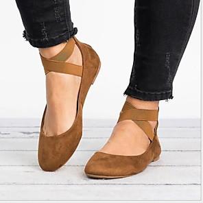 cheap Women's Sandals-Women's Flats Flat Heel Round Toe PU Spring &  Fall Black / Brown / Dark Brown