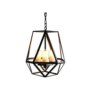cheap Candle-Style Design-3-Light Antique Iron Pendant Lamp American Country Hanging Light Black Cages Shade Kitchen Island Dining Table Chandeliers Chain Adjustable 3 Lights