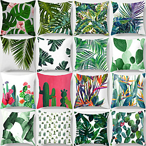 cheap Solid Duvet Covers-Set of 1 Polyester Pillow Cover Tropical Pants leaves Cushion Case Throw Pillow