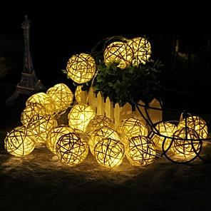 cheap LED String Lights-5M 40 Leds Rattan Balls LED String Lights Battery Garland Cotton Ball Light Chain Guirlande Lumineuse Holiday Christmas Lights Balls