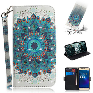 cheap Other Phone Case-Case For Asus ASUS Zenfone max M1 ZB555KL Wallet / Card Holder / with Stand Full Body Cases Flower PU Leather