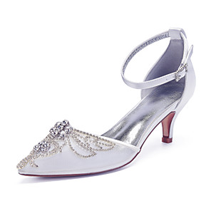 cheap Wedding Shoes-Women's Wedding Shoes Glitter Crystal Sequined Jeweled Kitten Heel Pointed Toe Rhinestone / Sequin Mesh Vintage / British Spring & Summer Champagne / White / Ivory / Party & Evening