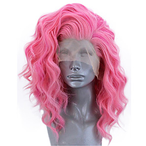 cheap Synthetic Lace Wigs-Synthetic Lace Front Wig Wavy Side Part Lace Front Wig Short Pink Synthetic Hair 12-14 inch Women's Adjustable Heat Resistant Party Rose Pink