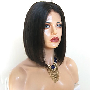 cheap Synthetic Trendy Wigs-Synthetic Wig kinky Straight Bob Wig Medium Length Natural Black Synthetic Hair 38~42 inch Women's New Arrival Black