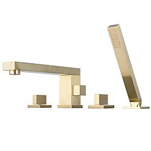 cheap Bathroom Sink Faucets-Shower Faucet / Bathtub Faucet - Contemporary Brushed Gold Widespread Ceramic Valve Bath Shower Mixer Taps / Two Handles Four Holes
