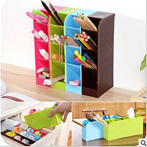 cheap Jars & Boxes-School Desk Pen Caddy Organizer - 4 Piece Set School Equipment Storage Holder for Students, Teachers, 16 Compartments for Pens, Erasers and More