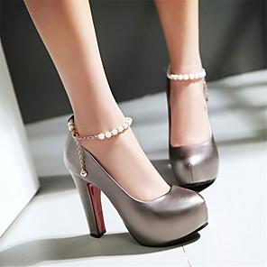 cheap Women's Heels-Women's Heels Chunky Heel Round Toe Rhinestone / Imitation Pearl / Buckle PU(Polyurethane) Spring &  Fall White / Pink / Gray / Wedding / Party & Evening