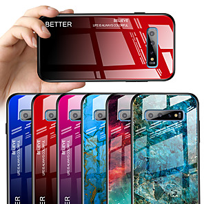 cheap Samsung Case-Case for Samsung Galaxy S10 S10e S10 Plus Mirror Full Body Cases Color Gradient TPU Tempered Glass S9 S9 Plus